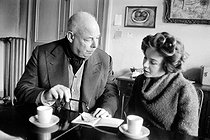 Jean Renoir (1894-1979), French director and Leslie Caron, French actress, on December 2, 1958. © Bernard Lipnitzki / Roger-Viollet