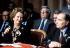 Margaret Thatcher (1925-2013), Premier ministre britannique, et François Mitterrand (1916-1996), président de la République française, annonçant la construction du tunnel sous la Manche. 29 juillet 1987. © PA Archive / Roger-Viollet