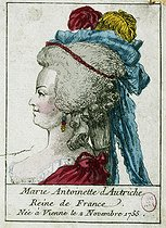 Marie-Antoinette of Austria, Queen of France, born in Vienna on November 2nd, 1755. Anonymous engraving. Paris, musée Carnavalet. © Musée Carnavalet/Roger-Viollet
