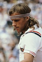 Roland-Garros French Open. Björn Borg (born in 1956), Swedish tennis player, winning the tournament for the second time. Paris, 1980. © Jean-Pierre Couderc/Roger-Viollet