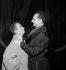 """""""Ornifle"""" by Jean Anouilh. Louis de Funès and Pierre Brasseur. Paris, Théâtre des Champs-Elysées, November 1955.    © Studio Lipnitzki/Roger-Viollet"""