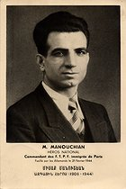 Missak Manouchian (1906-1944), Armenian poet, resistance fighter and national hero. He was executed by the German army on February 21, 1944. © Archives Manouchian / Roger-Viollet