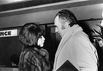 Juliette Gréco, French actress and singer, with Michel Piccoli, French actor. © Roger-Viollet