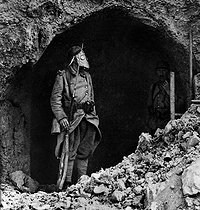 World War I. Sentry at Fort Souville (near Verdun, France), September 1916. © Roger-Viollet