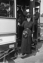 World War One. Woman working as a ticket inspector in a streetcar. Paris, August 1914. © Maurice-Louis Branger/Roger-Viollet