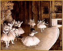Edgar Degas (1834-1917). Rehearsal of a ballet on stage. Oil on canvas, 1874. Paris, musée d'Orsay. © Roger-Viollet