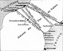 Channel Tunnel. Map showing the lines of 6 projects for the crossings of the canal. © Roger-Viollet