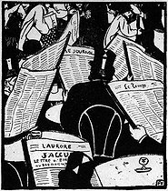 "Félix Vallotton's ( 1865-1925 ) carving evoking the publication of Zola's article taking the defence of Alfred Dreyfus: "" I accuse "" . "" The Shout of Paris "", in January 23, 1898. © Roger-Viollet"