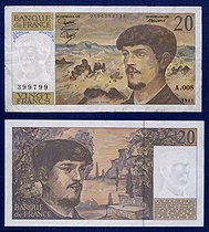 20-franc banknote bearing the effigy of Claude Debussy (1862-1918), French composer, 1993. © Roger-Viollet