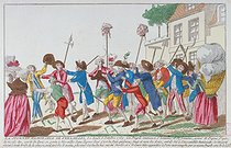 Memorable day at Versailles on Monday, October 5, 1789: crowd of men and women with pikes, swords and guns, asking for food instead of laws. Anonymous engraving. Paris, musée Carnavalet. © Musée Carnavalet/Roger-Viollet
