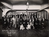 Group photograph with Missak Manouchian (last row on the right, 1906-1944), Armenian poet and resistance fighter, 1938. © Archives Manouchian / Roger-Viollet