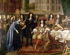 """Charles Le Brun (1619-1690). """"Louis XIV visitant l'Académie des sciences"""". De droite à gauche : le roi, Colbert, Charles Perrault (portant des documents). Musée de Versailles. © Roger-Viollet"""