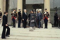 Indira Gandhi (1917-1984), Indian Prime Minister, greeted at the Elysee Palace by François Mitterrand (1916-1996), President of the French Republic. Paris, 1981. © Jean-Régis Roustan/Roger-Viollet