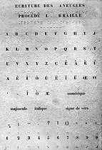 Page of a manual of raised letter writing for the blind, after the method developed by Louis Braille (1809-1852) . © Roger-Viollet