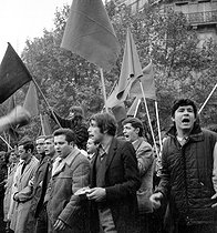 Events of May 1968 in Paris. From left to right : Jacques Sauvageot, Alain Geismar and Roland Castro. © Roger-Viollet