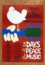 Affiche pour le festival de Woodstock (New York), 1969. © The Image Works / Roger-Viollet