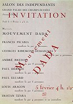 Invitation to a matinée of the Dada movement within the framework of the Salon des Independants. Paris, February 5, 1920. © Roger-Viollet