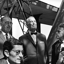 75th anniversary of the Eiffel Tower. Maurice Chevalier (1888-1972), French cabaret singer and entertainer, and Henri Sauguet (1901-1989), French composer. Paris, 1964. © Roger-Viollet