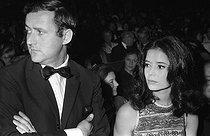 Michel Drach (1930-1990) and Marie-José Nat (1940-2019), attending Yves Montand's show at the Olympia. Paris, 1968. © Noa / Roger-Viollet