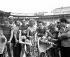 Jacques Anquetil (1934-1987), French racing cyclist, winner of the Grand Prix des Nations. On the left : Albert Bouvet (second). Paris, Parc des Princes, on September 25, 1955. © Roger-Viollet