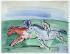 """Raoul Dufy (1877-1953). """"Deux chevaux à la course"""". Aquarelle, gouache et encre sur papier vélin d''Arches, vers 1930. Paris, musée d''Art moderne. © Musée d'Art Moderne/Roger-Viollet"""