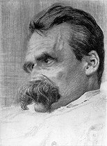 Friedrich Nietzsche (1844-1900), German philosopher. Drawing, by Hans Olde. French National Library. © Roger-Viollet