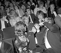 Françoise Sagan, Claude Chabrol, Stéphane Audran, Jean-Jacques Debout and Rachel Breton (behind Sagan), attending Charles Trenet's premiere at the Olympia. Paris, on May 3, 1971. © Patrick Ullmann / Roger-Viollet
