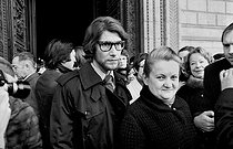 Yves Saint Laurent (1936-2008), French fashion designer, attending the funeral of Coco Chanel (1883-1971), French fashion designer. Paris, Madeleine church, 1971. © Jacques Cuinières / Roger-Viollet