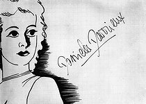 Sketch and signature of Danielle Darrieux (1917-2017), French actress. © LAPI/Roger-Viollet