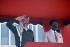 Yasser Arafat (1929-2004), head of the Palestine Liberation Organization, and Omar Bongo (1935-2009), Gabonese statesman. Gabon, April 1989. © Françoise Demulder / Roger-Viollet