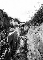 World War I. Battle of the Marne. German trench in reinforced concrete. © Neurdein/Roger-Viollet