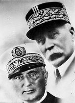 Marshal Philippe Pétain (1856-1951) and Amiral François Darlan (1881-1942), official portrait of the Vichy gouvernment. © Roger-Viollet