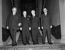 Meeting of the three Superpowers. John Foster Dullles, American Junior minister, Antoine Pinay, French Foreign secretary, Harold Macmillan, British Foreign secretary, and Jean Chamant, French Secretary of State for Foreign and Commonwealth Affairs. On 24th October 1955, Paris. © Roger-Viollet