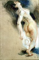 "Eugène Delacroix (1798-1863). Sketch of a naked leaning back woman for ""La Mort de Sardanapale"" (The death of Sardanapalus). Pastel, red chalk and chalk on ""bis"" paper, 1827. Paris, musée Delacroix (deposit from the Louvre Museum). © Roger-Viollet"