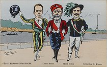 Visit in Paris of King Alfonso XIII of Spain (1886-1941). Franco-Spanish feasts : Latin union. King Alfonso XIII, Emile Loubet (1838-1929), President of the French Republic, and King Victor Emmanuel III of Italy (1869-1947). Satirical cartoon by T. Bianco. Paris, bibliothèque de l'Hôtel de Ville. © T. Bianco / BHdV / Roger-Viollet