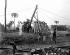 Côte-d'Ivoire. Installation d'une ligne télégraphiqe , vers 1905. © Albert Harlingue/Roger-Viollet