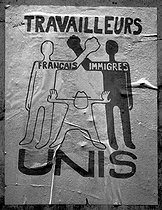"Events of May-June 1968 in Paris. Poster ""Travailleurs français et immigrés unis"" (""French and migrant workers united""), May 1968. © Roger-Viollet"
