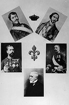Lineage of Charles V (Don Carlos, 1788-1855), each of them pretenders to the throne of Spain. On the top : Charles VII (Don Carlos Luis, 1818-1861) and Juan III (Don Juan, 1822-1887). In the middle : Charles VII (Don Carlos, 1848-1909) and Jacques III (Don Jaime, 1870-1931). At the bottom :  Alphonse Charles (Don Alfonso Carlos, 1849-1936). © Roger-Viollet