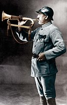World War I. Corporal-bugler Pierre Sellier (1892-1948) who sounded the ceasefire on November 11, 1918. Colourized photo. © Roger-Viollet