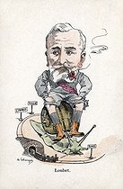 Satirical cartoon about Emile Loubet (1838-1929), French statesman. Humorous postcard, before 1903. © Roger-Viollet