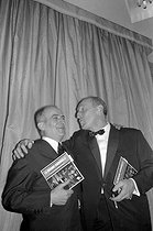 "Louis de Funès and Bourvil at the première of ""La Grande Vadrouille"". Cannes Film Festival, 1966.      © Roger-Viollet"