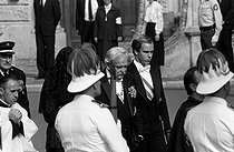 Funeral of Princess Grace of Monaco (1929-1982). From left to right : Princess Caroline, Prince Rainier III and Prince Albert. Monaco, on September 18, 1982. © Carlos Gayoso / Roger-Viollet