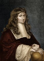 Isaac Newton (1642-1727), English mathematician, physicist and astronomer. Colorized engraving, 1808.  © FA / Roger-Viollet