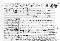 Score of Hector Berlioz' requiem played at the funeral of the general-count Charles Denys Damrémont, at the Invalides (1837). Up on the right: autograph by Niccolo Paganini. © Roger-Viollet