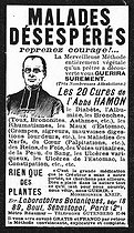 Advertisement for the use of medicinal plants of abbot Hamon. France, about 1910. © Roger-Viollet