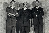 """Seconde République espagnole (1931-1939). Création de la Phalange Espagnole (""""Falange Española""""), organisation politique nationaliste et fasciste fondée par José Antonio Primo de Rivera (1903-1936), homme politique espagnol. De g. à. dr. : Alfonso García Valdecasas (1904-1993), Julio Ruiz de Alda (1897-1936) and José Antonio Primo de Rivera (1903-1936). Madrid (Espagne), Teatro de la Comedia, 29 octobre 1933.  © Iberfoto / Roger-Viollet"""