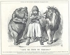 """John Tenniel (1820-1914). """"Sauvez-moi de mes amis !"""". L'Afghanistan demandant à être protégé des ambitions coloniales de ses amis, la Russie (l'ours) et la Grande-Bretagne (le lion). Caricature parue dans le magazine anglais """"Punch"""", 30 novembre 1878. © TopFoto / Roger-Viollet"""