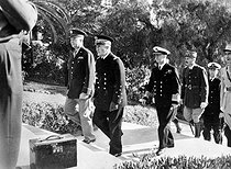 World War II. French Admiral Darlan, U.S. General Eisenhower, British Admiral Cunningham and Fench General Giraud, at the Algiers war memorial (Algeria), on November 11, 1942. © Roger-Viollet