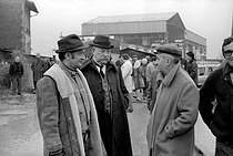 "Denys de La Patellière (1921-2013), French director, Jean Gabin (1904-1976) and Louis de Funès (1914-1981), French actors, during the shooting of ""Le Tatoué"". France, 1968. Photograph by Georges Kelaïditès (1932-2015). © Georges Kelaïditès / Roger-Viollet"