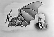 """Clément Ader (1841-1925), French engineer and his plane """"n°3"""". 1887. © Roger-Viollet"""